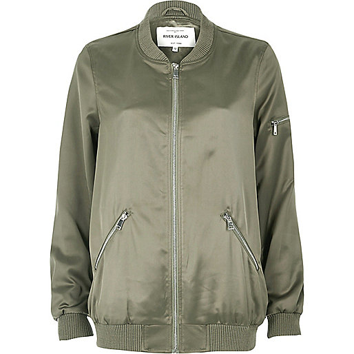 Light green satin longline bomber jacket