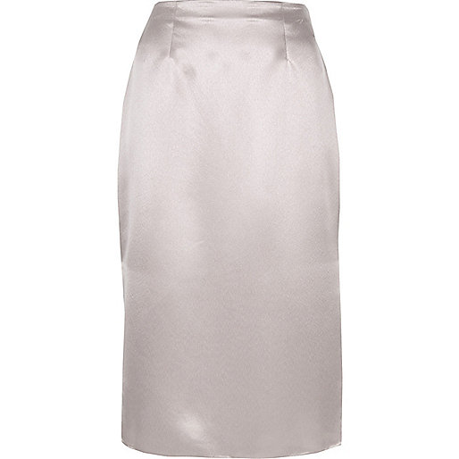 Silver satin pencil skirt