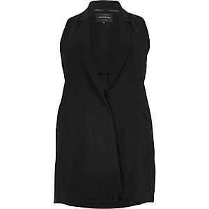 Plus black sleeveless cut-out tux jacket