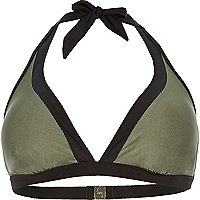 Plus khaki colour block string bikini top