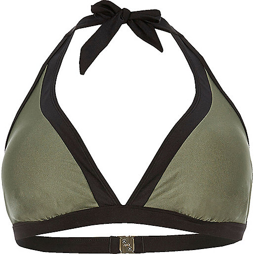 Plus khaki color block string bikini top