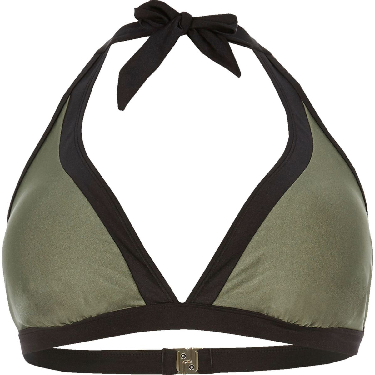 Haut de bikini Plus kaki colour block avec liens