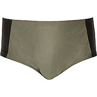 Plus khaki colour block bikini bottoms