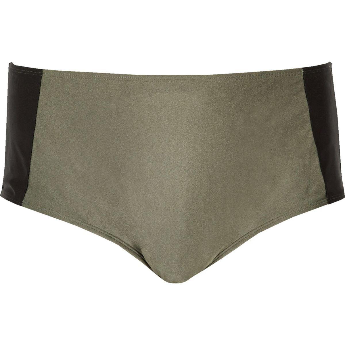 Plus khaki color block bikini bottoms