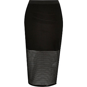 Black sporty mesh pencil skirt