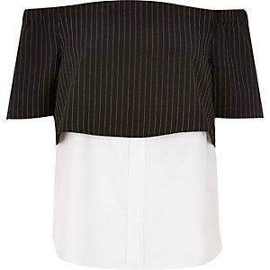 Black stripe layered bardot shirt