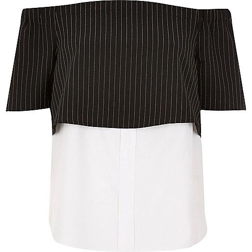 Zwart gelaagd bardot-overhemd met strepen