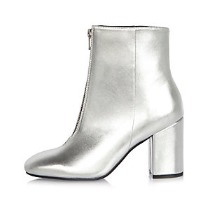 Silver zip front boots