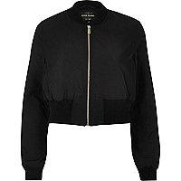 Black cropped bomber jacket