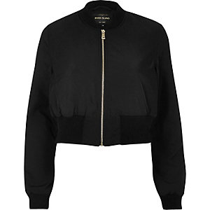 Black cropped bomber jacket