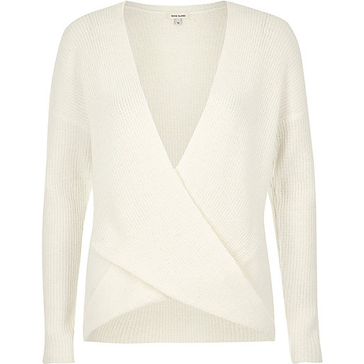 Cream wrap sweater