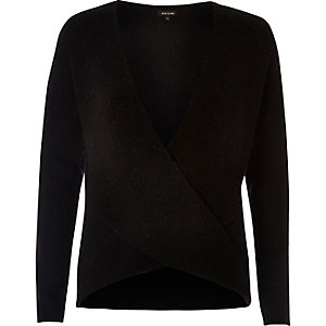 Black wrap plunge sweater