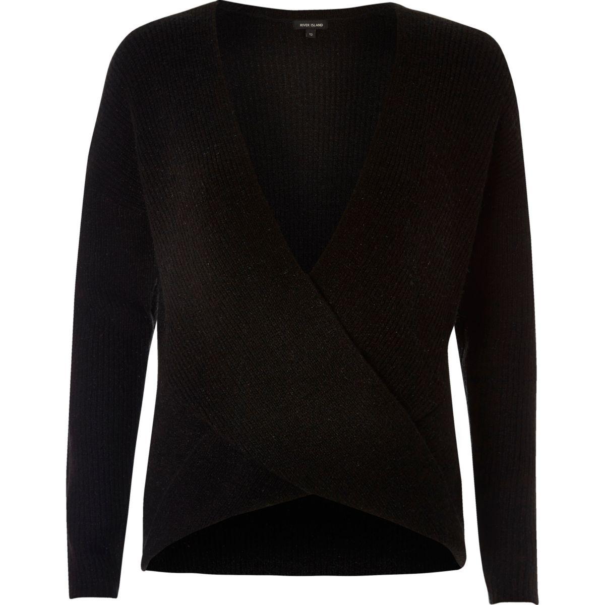 Black wrap plunge jumper
