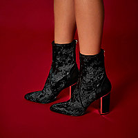 RI Studio black velvet gold trim ankle boots
