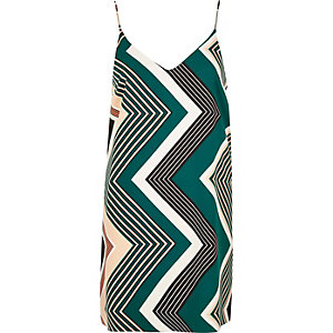 Green print slip dress