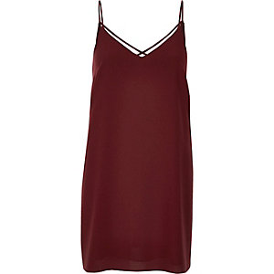 Burgundy strappy slip dress