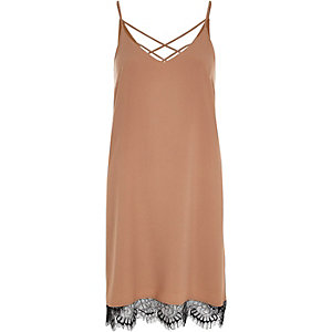 Beige lace hem strappy slip dress