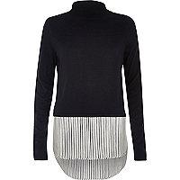 Navy stripe turtleneck layered sweater