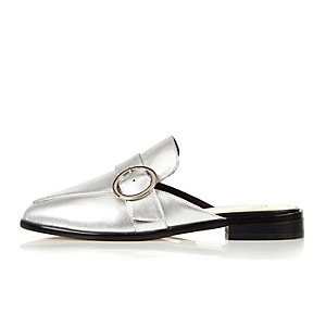Silver leather backless loafers