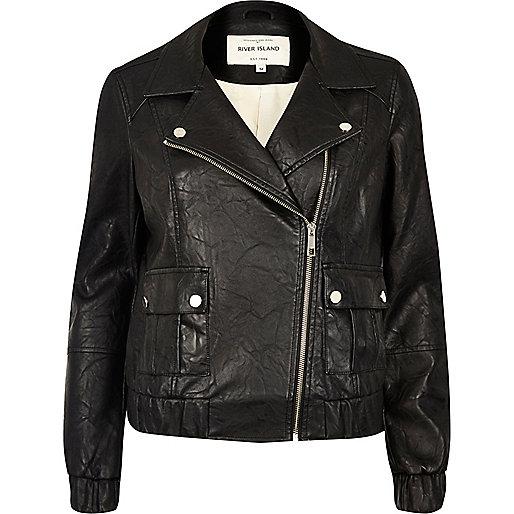 Black textured leather look biker bomber