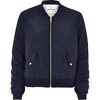 Navy nylon bomber jacket