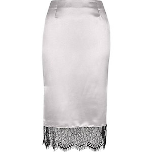 Silver satin lace hem pencil skirt