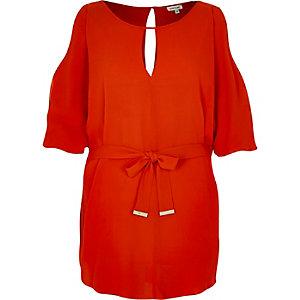 Red cold shoulder belted top