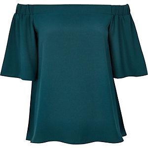 Dark turquoise bardot top