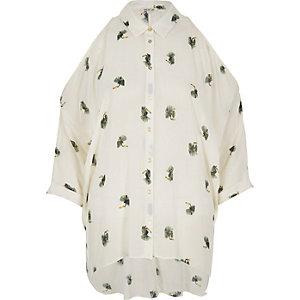 Brown bird print cold shoulder shirt