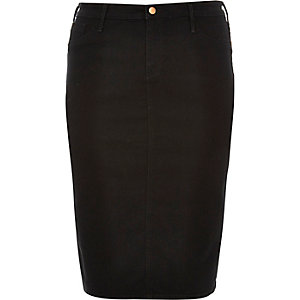 Plus black denim pencil skirt