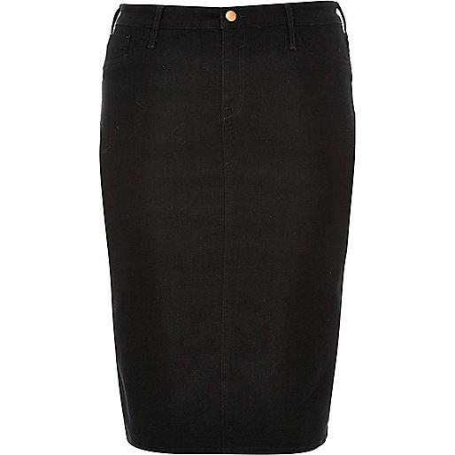 Plus black denim pencil skirt
