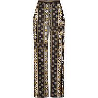 Black print wide leg trousers