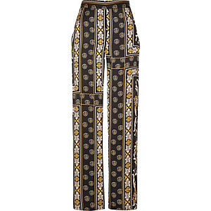 Black print wide leg pants