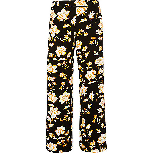 Black print straight leg trousers