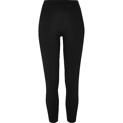 Schwarze Jersey-Leggings mit hohem Bund