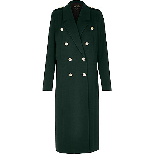 Green duster military coat