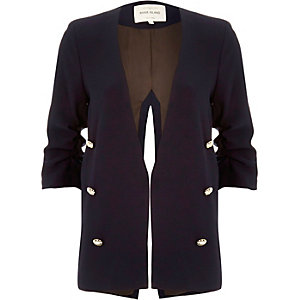 Navy split back military blazer