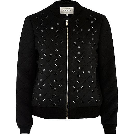 Black eyelet detail bomber jacket