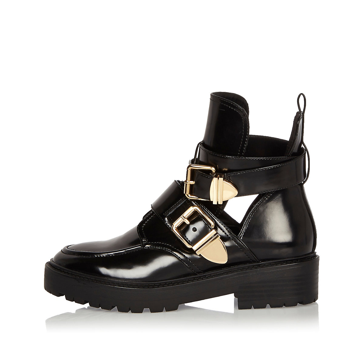 Black patent cut-out boots