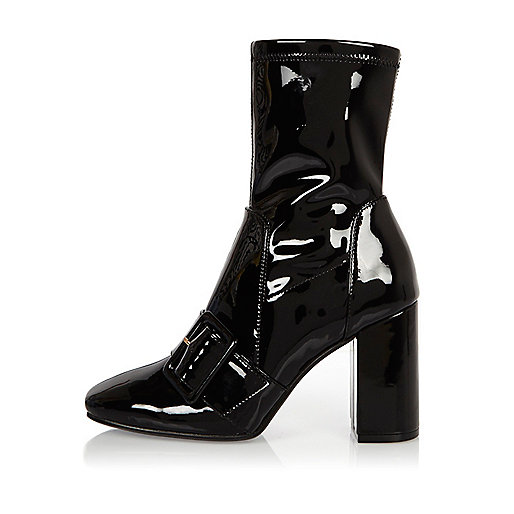 Black patent stretch ankle boots