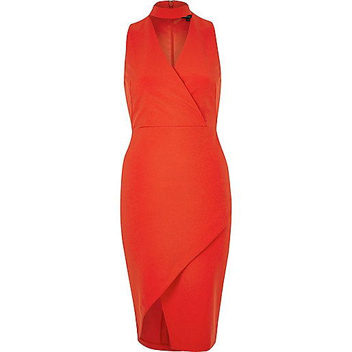 Red wrap choker bodycon dress