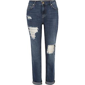 Mid blue wash ripped Ashley boyfriend jeans