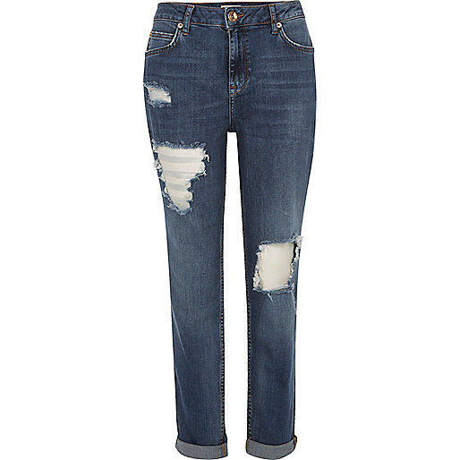 Mid blue wash ripped Ashley boyfriend jeans