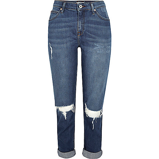Ashley - Donkerblauwe wash ripped boyfriend jeans