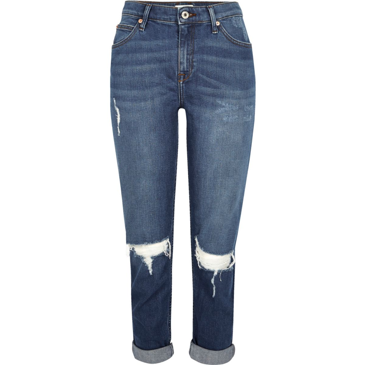 Ashley - Donkerblauwe wash ripped boyfriend jeans
