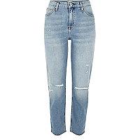 Ashely – Boyfriend-jeans in hellblauer Waschung im Used-Look
