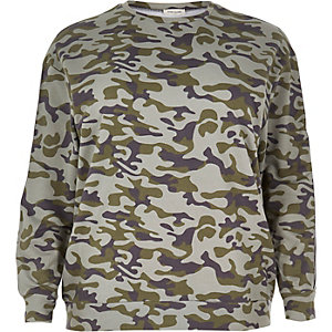 Plus green camo sweatshirt