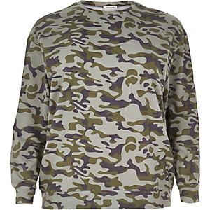 Plus groen sweatshirt met camouflageprint