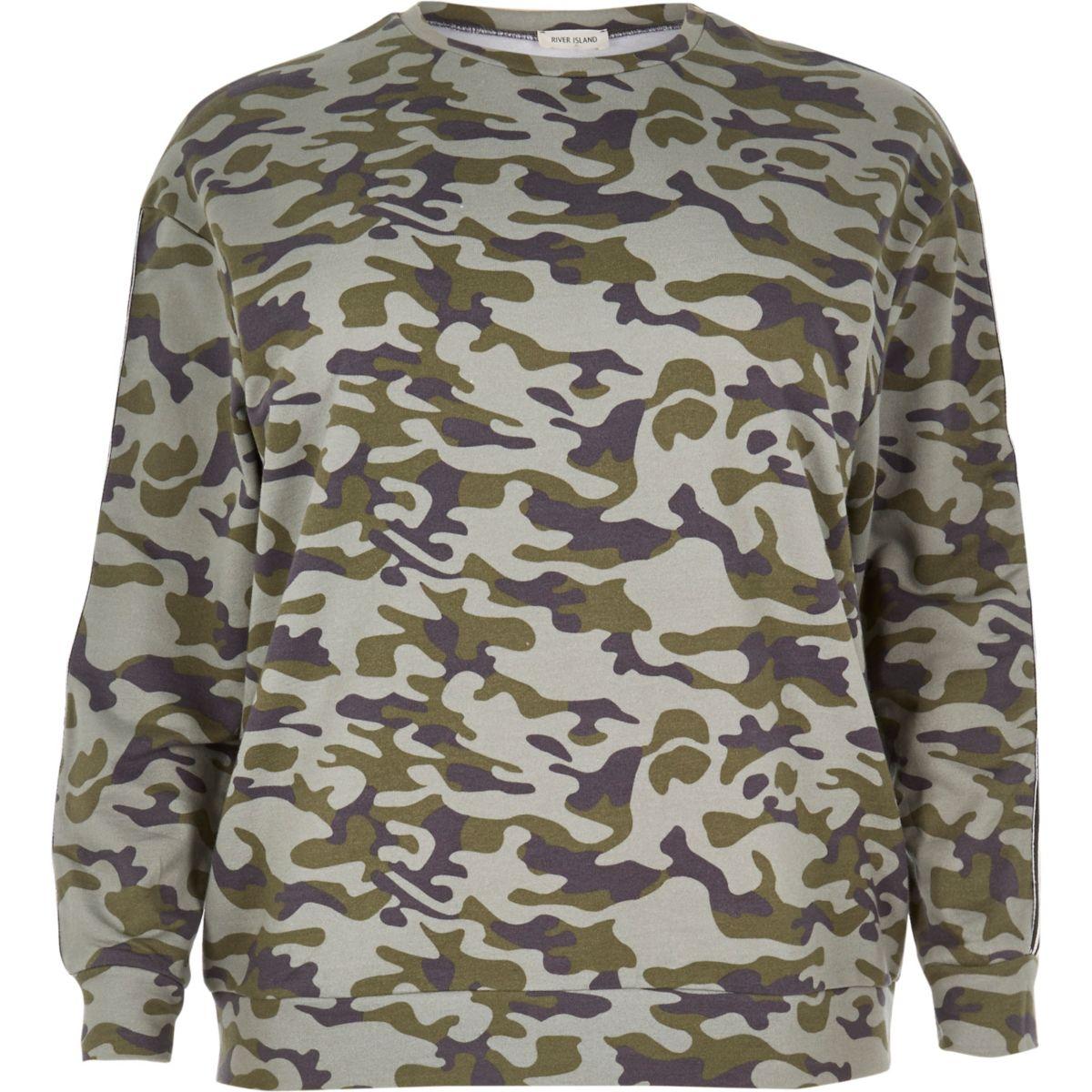 Plus green camo sweatshirt