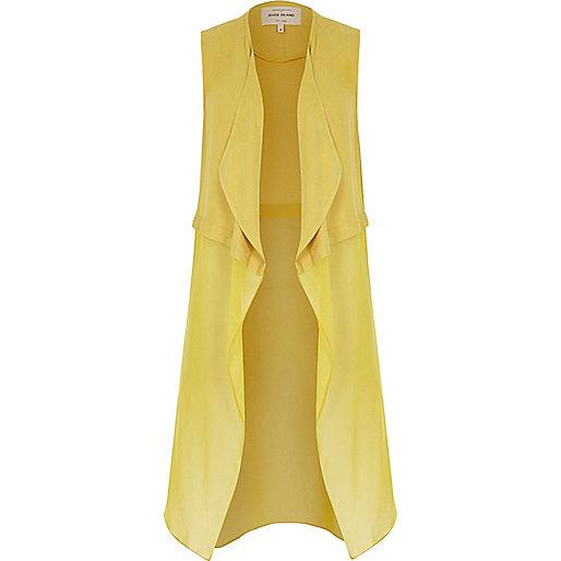 Manteau long sans manche en mousseline jaune